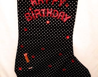 Black n Red Birthday Stocking ADULT