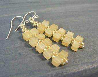 Aragonite Earrings Sterling Silver Gemstone Earrings, Cube Jewelry, Yellow Earrings, Natural Stone Jewelry Handmade Gifts, Unique Earrings