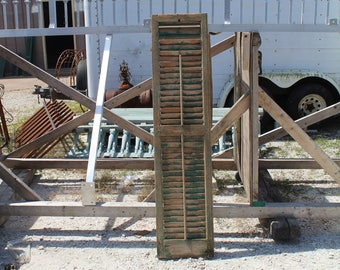 """Old 64"""" tall Vintage Green Single House Shutter -  SH19"""