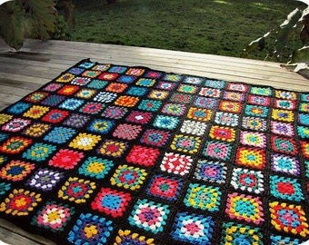 Crochet Blanket Afghan Blanket Granny Square Blanket Baby Blanket Baby Shower Gift Sofa Throw Home Decor  CHOOSE YOUR SIZE Made to Order