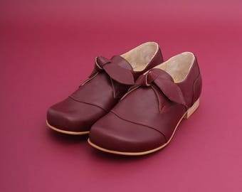 Women's flat shoes, Leather shoes purple oxford & Tie womens shoes handmade , free shipping ADIKILAV New Collection