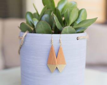 SALE : Wood Diamond Earrings, Fair Trade + Refugee Made, gold geometric wooden minimalist modern design