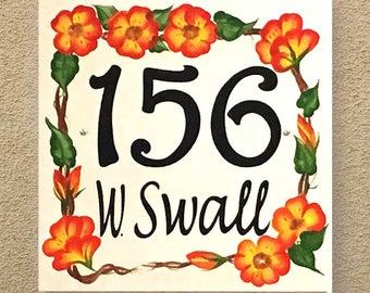 Floral house number plaque, Red flower address sign, Outdoor wall home sign, Wreath address wall art, Housewarming gift, Large address tile
