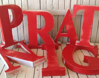 Metal Block Letters For Wall Vintage Red Letter  Etsy