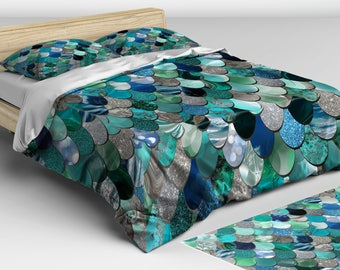 Mermaid Bedding Teal -  Duvet Cover - Mermaid Bedding - Twin, Full, Queen, King Sizes - Available in Four Colors