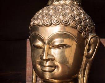Solid Brass Buddha Head Figure, Gold Buddha, Hand Cast Buddha Brass, Hand Cast in India, Meditation, Yoga, Buddha Decor, Yoga Decor, Brass
