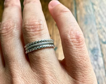 Ornate Hand Forged Sterling Silver Band