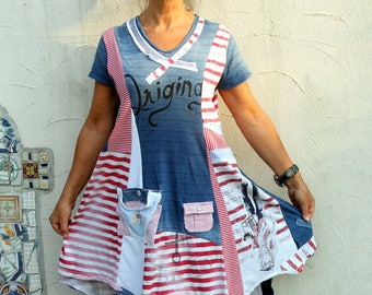 M-L Fantasy sailor striped appliqued patchwork recycled dress tunic hippie boho
