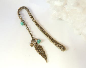 Bronze Leaf Bookmark with Turquoise, Metal Bookmark, Beaded Bookmark, Books and Zines, Fall Leaf Bookmark.