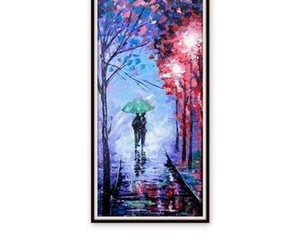 Huge Original Abstract Painting Acrylic- A Couple With Umbrella- Rainy night- Night Street - Colorful Abstract Palette Knife - Made to order