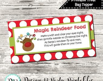 INSTANT DOWNLOAD Reindeer Food Christmas Treat Bag Topper Digital Printable