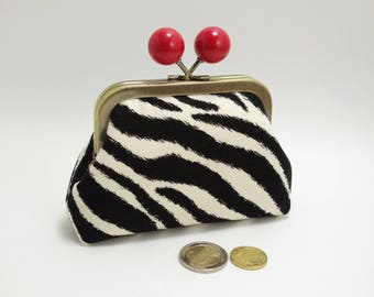 Clasp change purse, funny red balls, zebra white & black stripes / Kiss lock snap coin purse / Antic brass metal frame, red lining