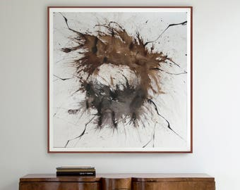 Original large abstract painting, black, brown and white abstract, star, movement, modern art, abstract art, explosion, square art, minimal