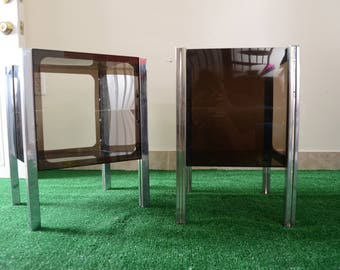 Pair Of Vintage 70s Modern Chrome and Smoked Lucite Side Tables