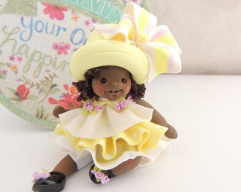 Fancy Hand sculpted African American Miniature Figurine Collectible