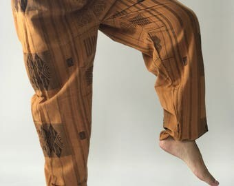 CH0090 Cotton Pajamas Pants Brown Color Drawstring Men's Yoga Massage Pants in Brown with elastic waist for easy adjustable fit.