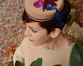 In-Stock: 1940s Style Painter's Palette Wool Felt Tilt Hat with Sequined Paint & Feather Brushes