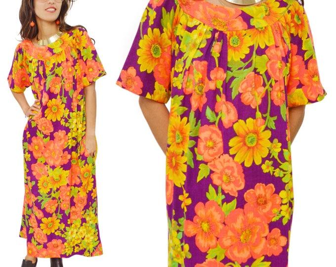 Vintage 70s Bohemian Hawaiian Floral Multicolor Long Maxi Muumuu Dress