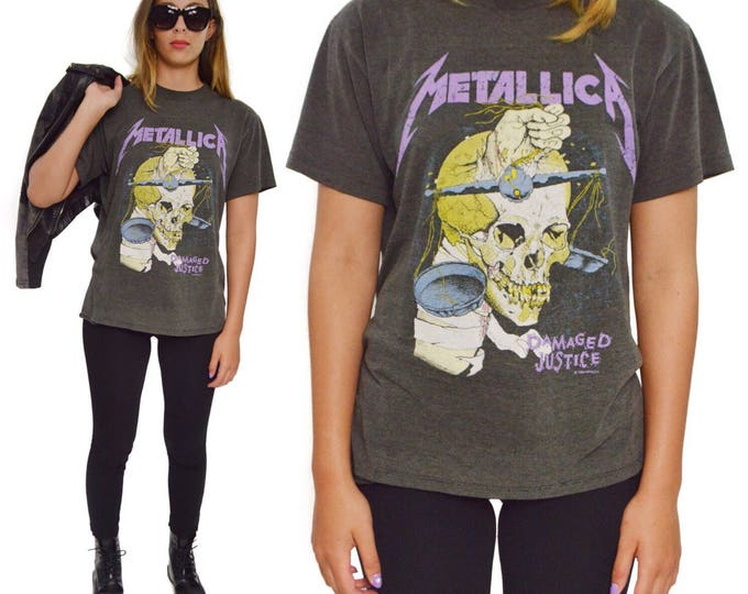 Vintage 80s Metallica Damaged Justice Summer '88 Tour Thrash Metal T Shirt Sz L
