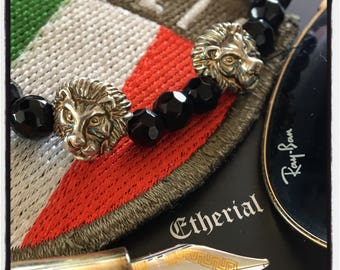 Sterling Silver Leo Lion Lava Bracelet Gold Lion Bracelet with Lava Beads Silver Lion Bracelet Black Lava Stones Lion Bracelet Leo Bracelet