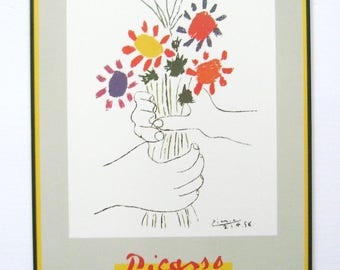 Hand with Flowers - Picasso Poster Print - 20x28 Vintage Metal Framed Art - Bouquet of Peace Quote Art Print - Mid Century Modern Home Decor