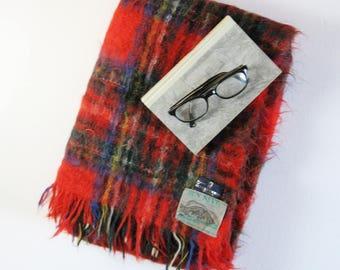 Vintage Red Royal Stewart Tartan Fringed Blanket - Scottish Mohair Throw - Cozy Plaid Throw Blanket - Made in Scotland - Winter Home Decor
