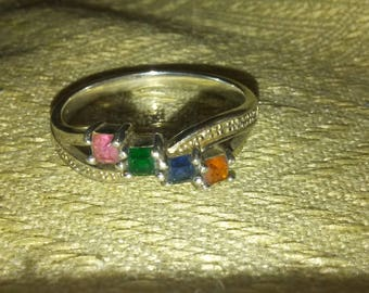 Silver and Faux Gemstone Ring