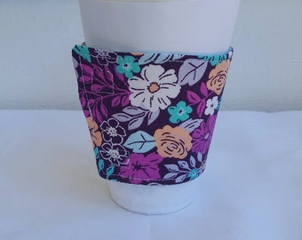 Fun floral beverage or coffee cozy - purple and green reversible
