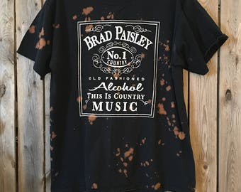 Brad Paisley , band shirt, bleached t, distressed t, bleached clothes, bleached shirt, country t