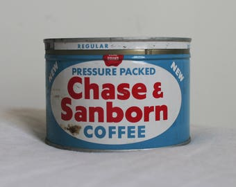 Vintage Chase & Sanborn Coffee Tin with Lid, Storage, Red, White, Blue