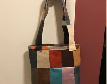 Multi Color Faux Leather Handbag