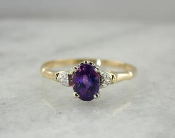 Retro Two Tone Floral Plum Purple Sapphire Engagement Ring, Sweet and Unusual Solitaire 409PN0-P