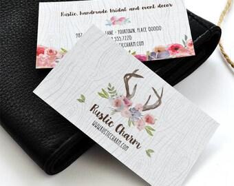 Rustic Antlers Faux Bois Watercolor Wildflowers Business Card, Printable PDF or JPG