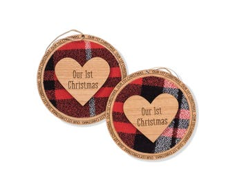 First Christmas Ornament Married. Western Theme Christmas Tree Ornament. Round Wooden Family Christmas Ornament. Christmas Gift.