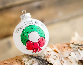 Wreath Family Name Christmas Ornament - Personalized for Free
