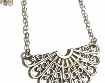Sterling Silver Lace Filigree Pendant necklace - .925 Sterling Silver chain