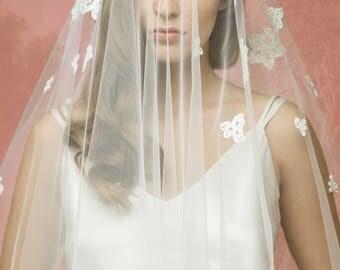 Lace Bridal Veil A10, Lace Wedding Veil, Lace Applique Veil,Cotton Lace Veil, Tulle Lace Veil, Double Layer Veil, Cathedral Veil, Chapel