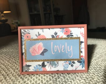 Floral Lovely Pink and Gold Frame