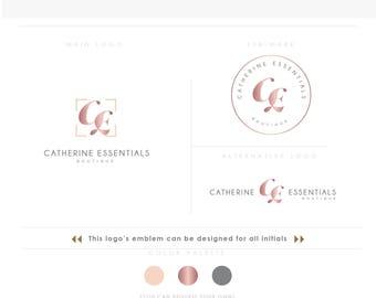 rose gold feminine Branding Kit 1, Photography Logo Watermark, Handwritten initials, Gold Initials Signature / Rose Gold Logo Design Stamp