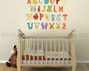 Alphabet Wall Decal - Nursery Wall Decal - Animal Wall Decal - Playroom Wall Decal, Alphabet Decal, Alphabet Nursery Art, Wall Art - 01-0019