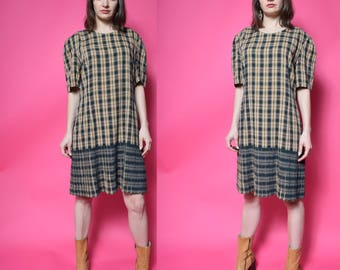Vintage 90's Plaid Green Shift Dress / Pleated Midi Dress - Size Large