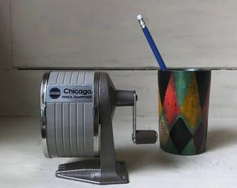 Vintage Apsco Chicago Pencil Sharpener | Desk Mount Sharpener | Hand Cranked One Hole Sharpener | School Office  Supplies | Industrial Chic