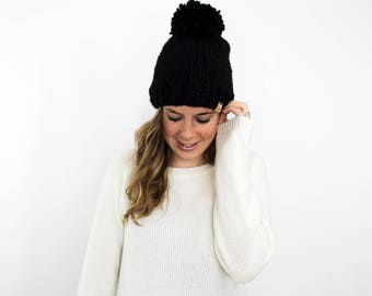 Black Knit Hat Pom Pom Bobble Beanie Knitted- Pokomoke Hat