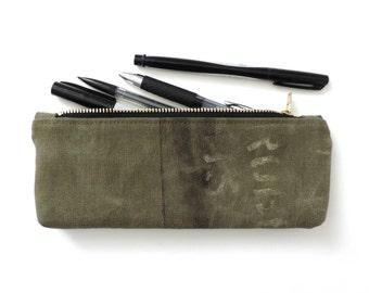 Military Pencil Case Zipper Pencil Pouch WWII Canvas