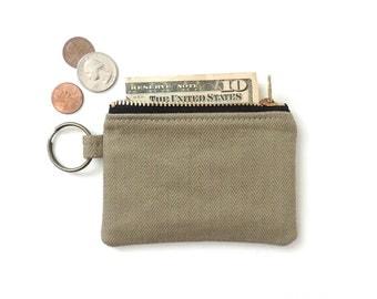 Keychain Coin Purse Slim Wallet Zipper Pouch Tan Herringbone