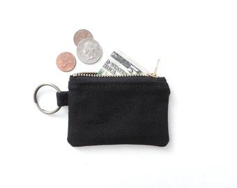 Canvas Keychain Coin Purse Black