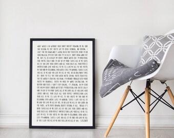 Custom Song Lyric Poster, Unframed, First Anniversary Paper Gift, Custom Wedding Gift, Framed Song Lyrics, Mother's Day Gift