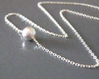 Silver Bead Choker, Sterling Silver Necklace, Dainty Bead Collar, Minimalist Silver Necklace, Layering Choker Necklace #337