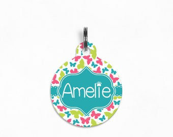"Pet ID Tag | ""Amelie"" - Girly Butterfly (pink, lime, teal)"