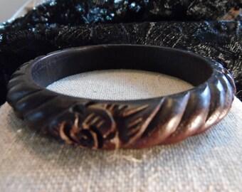 Slip on Carved Wooden Bangle Bracelet